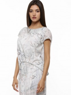 GILES AT KOOVS Feather Print Gather Detail Top