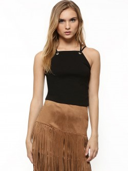 New Look Eyelet Trim Crop Top