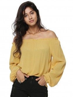 Rena Love Bardot Top With Elasticated Cuffs