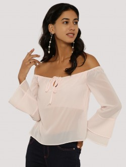 KOOVS Fluted Sleeve Bandeau Cold Shoulder Top