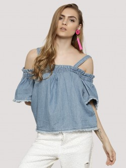 Noble Faith Denim Cold Shoulder Back Button Top