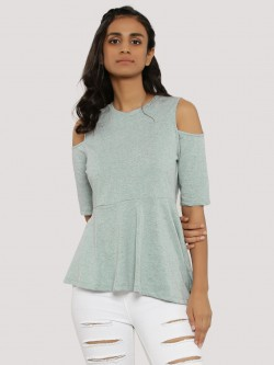 Femella Blue Cold Shoulder Asymmetric Top