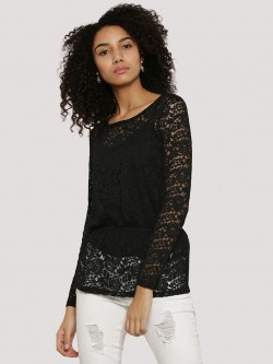 J.D.Y Sheer Lace Peplum Top