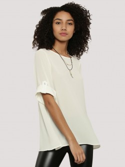 J.D.Y Roll Up Sleeve Woven Top