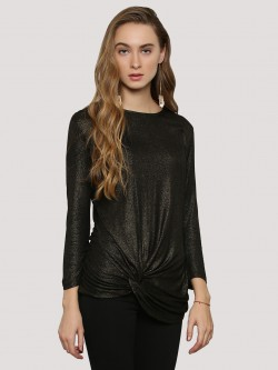 Femella Metallic Full Sleeve Gathered Top