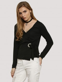 New Look Eyelet Tie Wrap Top