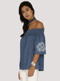 Ridress Denim Emboridered Sleeve Bardot Top With Choker