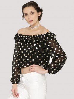 Nobody's Child Metallic Spot Bardot Top