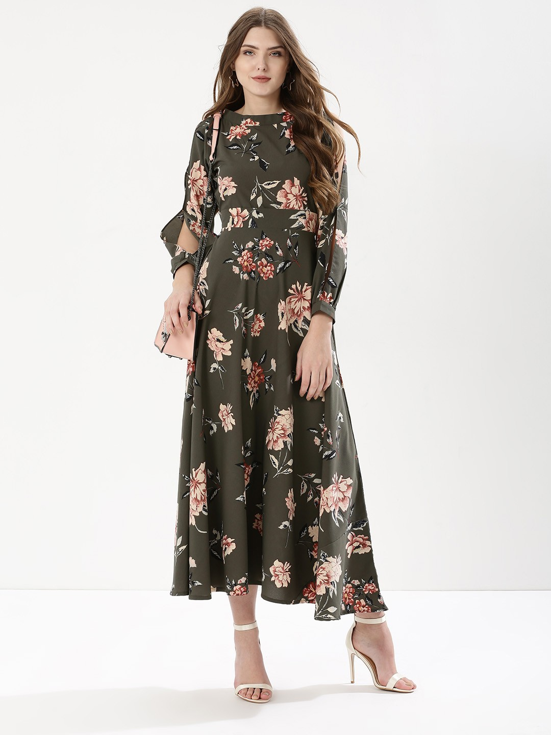 Buy CLOSET DRAMA Floral Print Maxi Dress For Women - Women's Olive ...