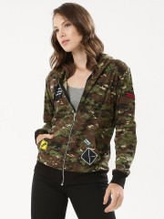SPRING BREAK  Camo Print Hoodie With Patch