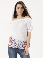 RENA LOVE  Bardot Top With Floral Embroidery
