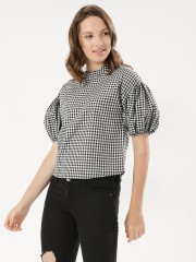 RENA LOVE  Gingham Blouse With Mock Neck