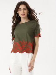 RENA LOVE  Scallop Sleeve Blouse With Contrast Embroidery