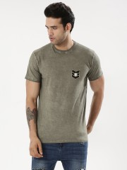 STYX & STONES  Oil Wash T-Shirt With Badge
