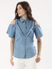 RIDRESS  Cold Shoulder Shirt With Ruffles And Pearl Detail