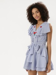 RIDRESS  Pearl & Embroidered Mix Ruffle Dress With Waist Tie