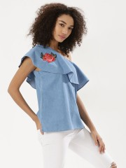 NOBLE FAITH  Embroidered One-Shoulder Ruffle Blouse