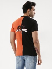 STYX & STONES  Contrast Panel T-Shirt With Back Print