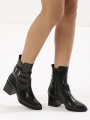 TRUFFLE COLLECTION  Block Heeled Boots With Buckle Detail