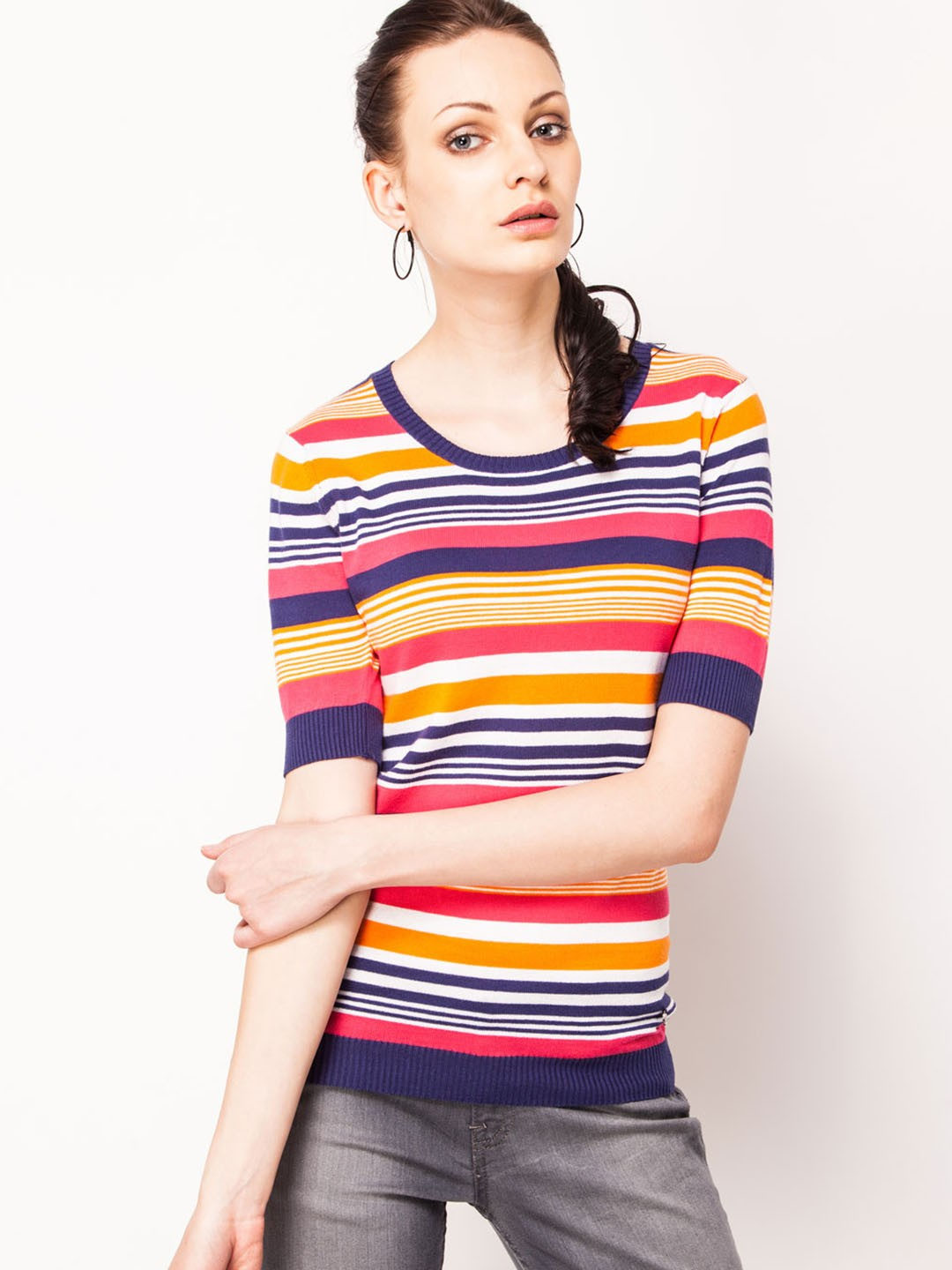 Buy Ucb Round Neck T Shirt With Quarter Sleeves For Women