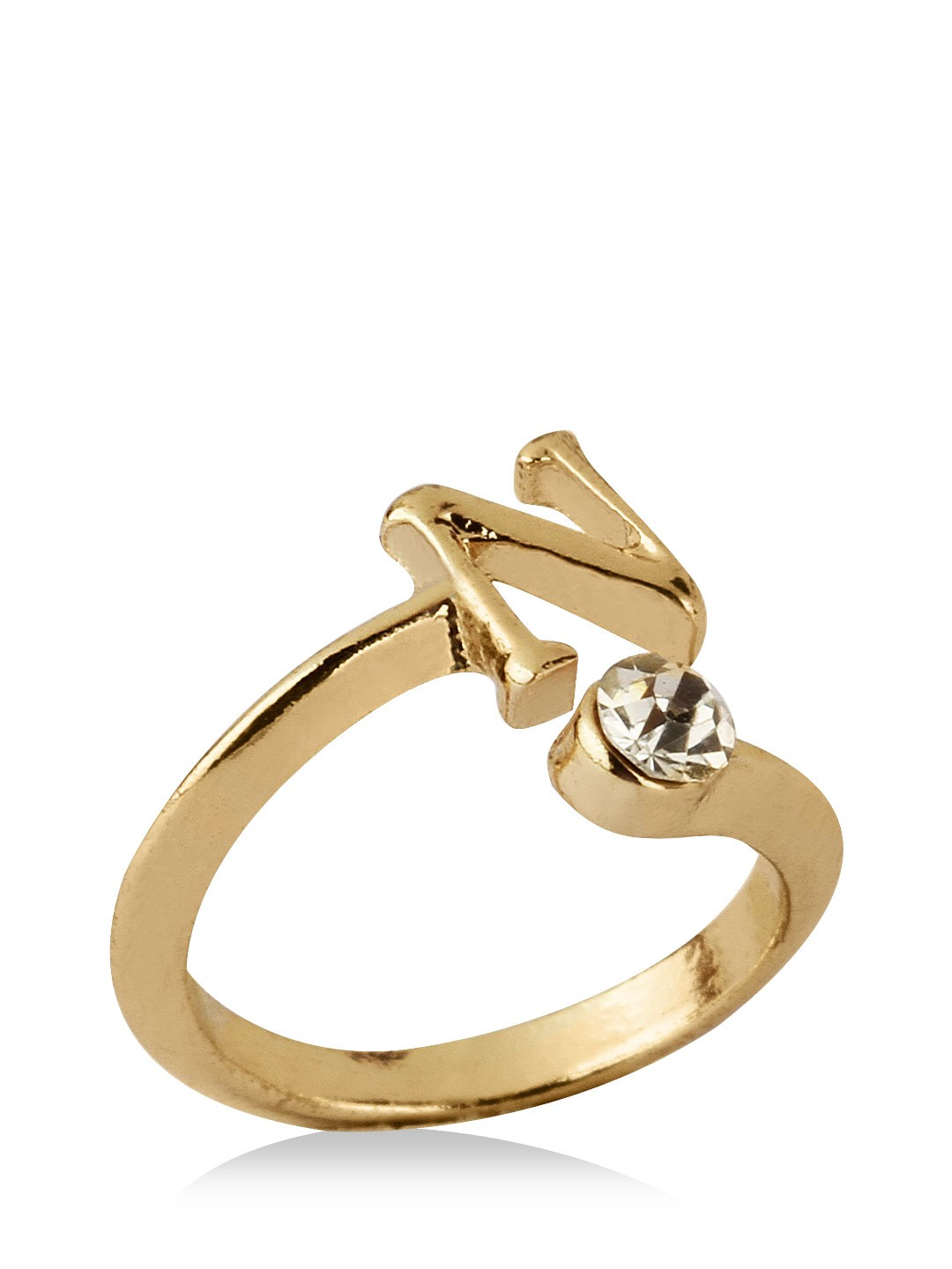 B Letter In Gold Ring Buy KOOVS Initial Ring...