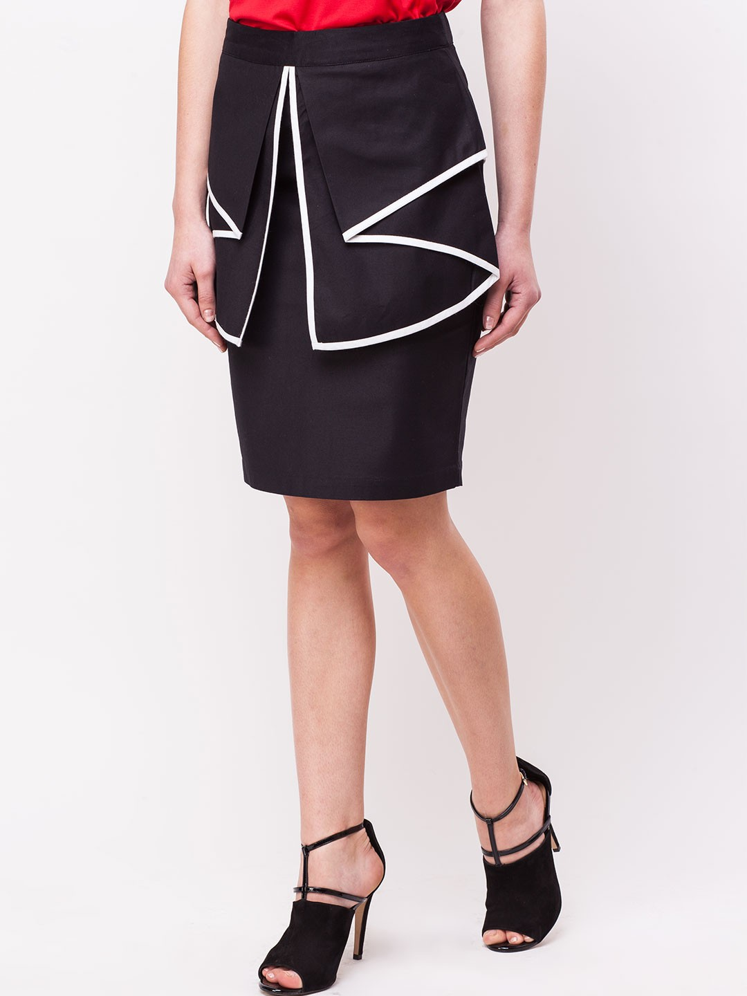 buy koovs folded peplum skirt for s black