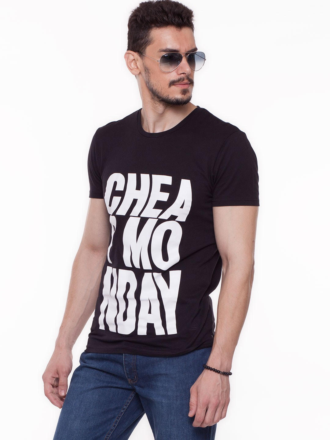 Buy cheap monday wavy logo print t shirt for men men 39 s for Cheap print t shirts