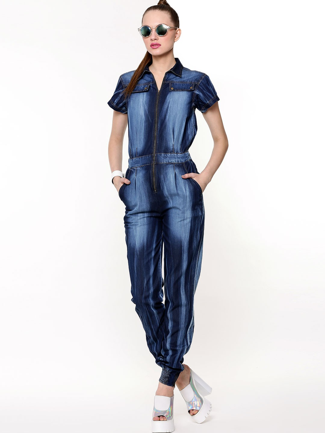 Buy KOOVS Zip Front Washed Denim Jumpsuit For Women - Womenu0026#39;s Blue Jumpsuits Online In India