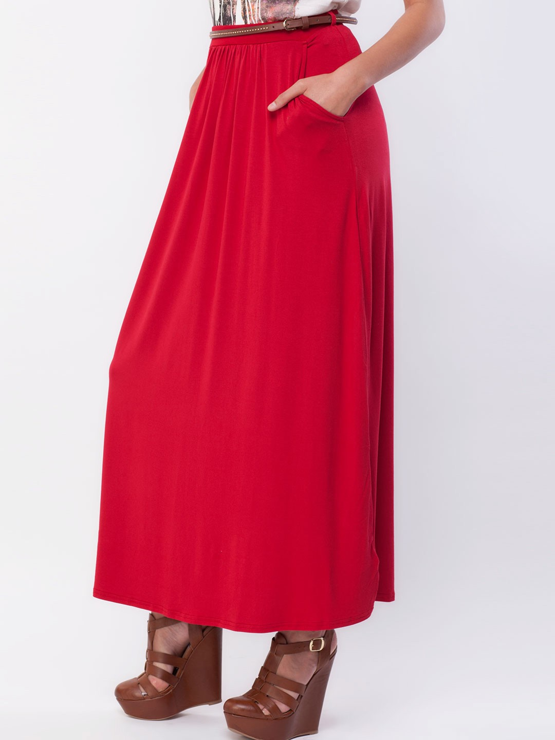 buy new look soft jersey belted maxi skirt for
