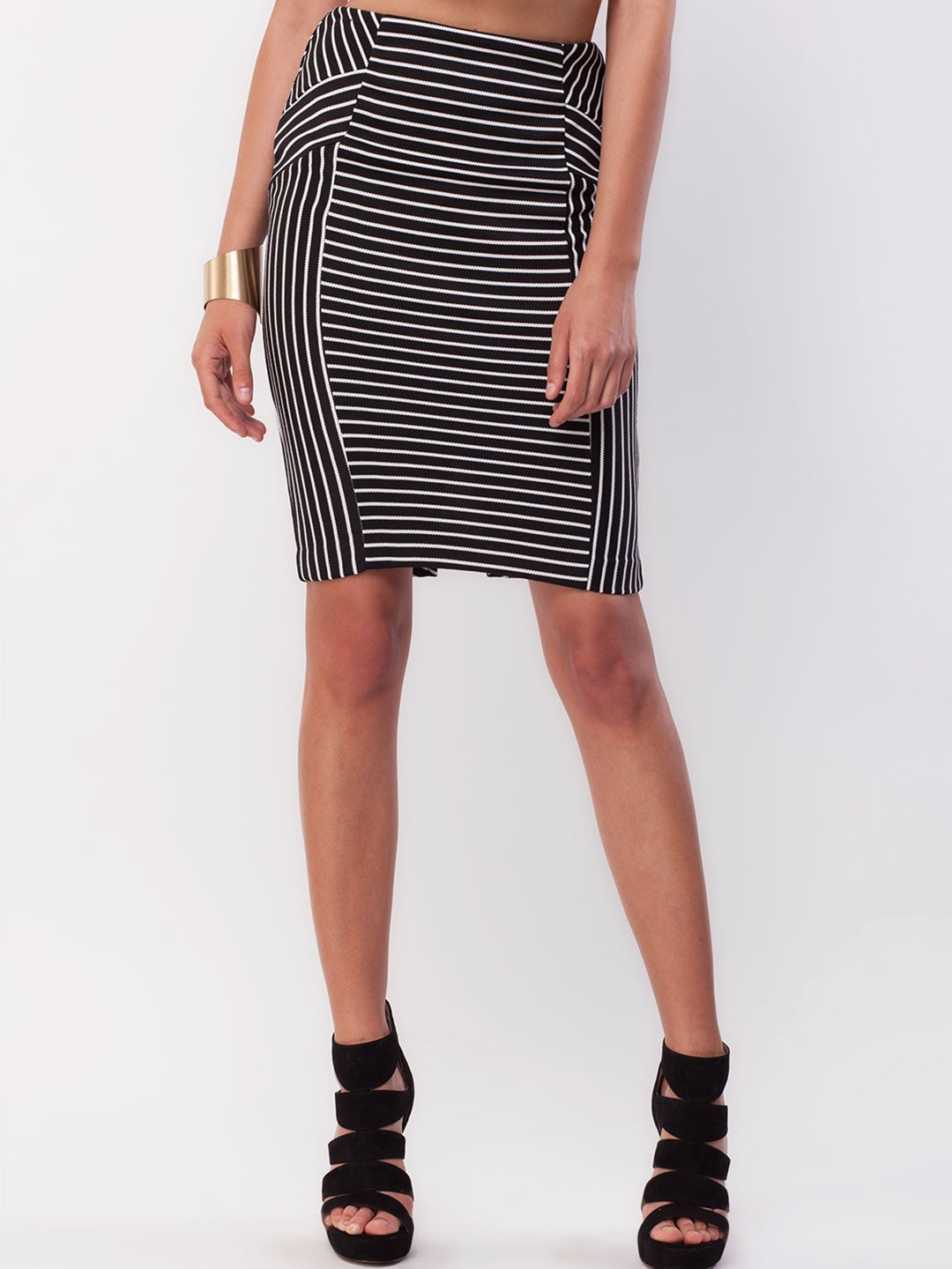buy new look geometric stripe pencil skirt for