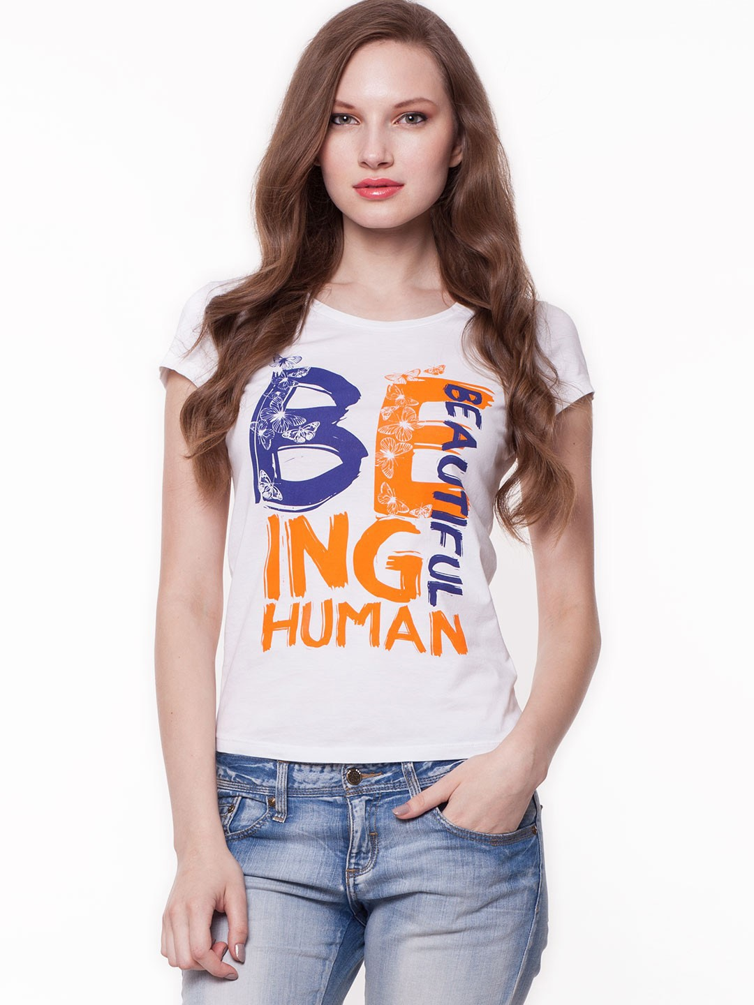 Buy being human slogan print tee for women women 39 s white for Being human t shirts buy online india