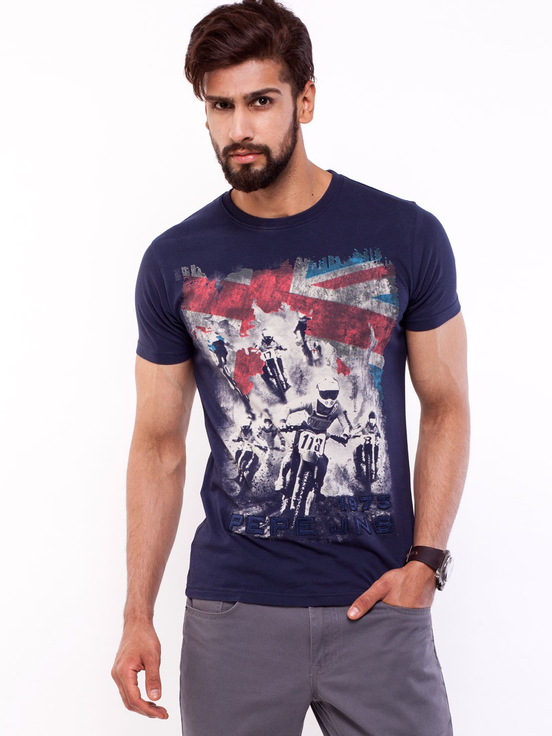 buy pepe jeans bikers print t shirt for men men 39 s navy t shirts. Black Bedroom Furniture Sets. Home Design Ideas