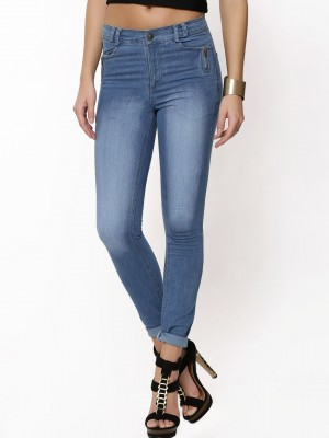 Buy KOOVS High Waisted Zip Pocket Skinny Jeans For Women - Women's ...
