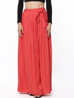 Buy KOOVS Tassel Belt Maxi Skirt For Women - Women's Orange Maxi ...