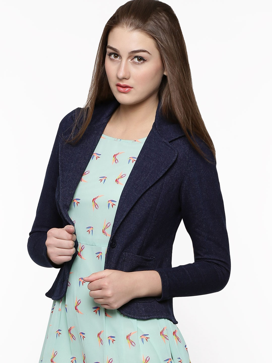 a682ba9ce02 Buy KOOVS Denim Effect Three Pocket Blazer For Women - Womenu0026 39 s Blue