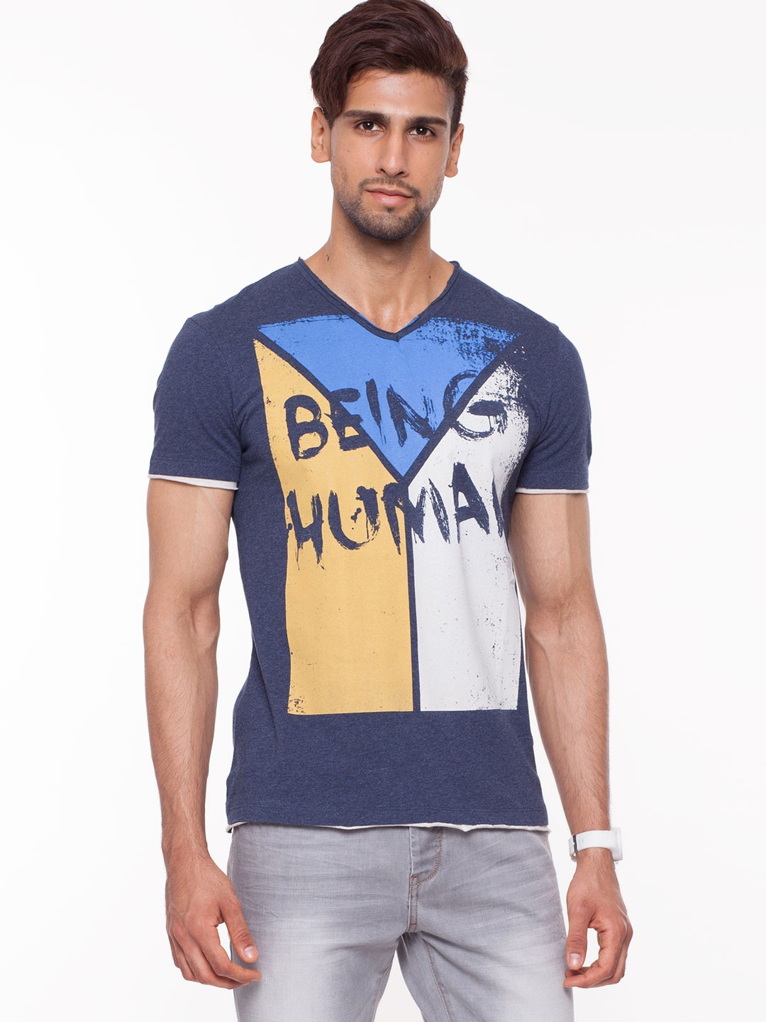 Buy being human colour block print t shirt for men men 39 s for Being human t shirts buy online india