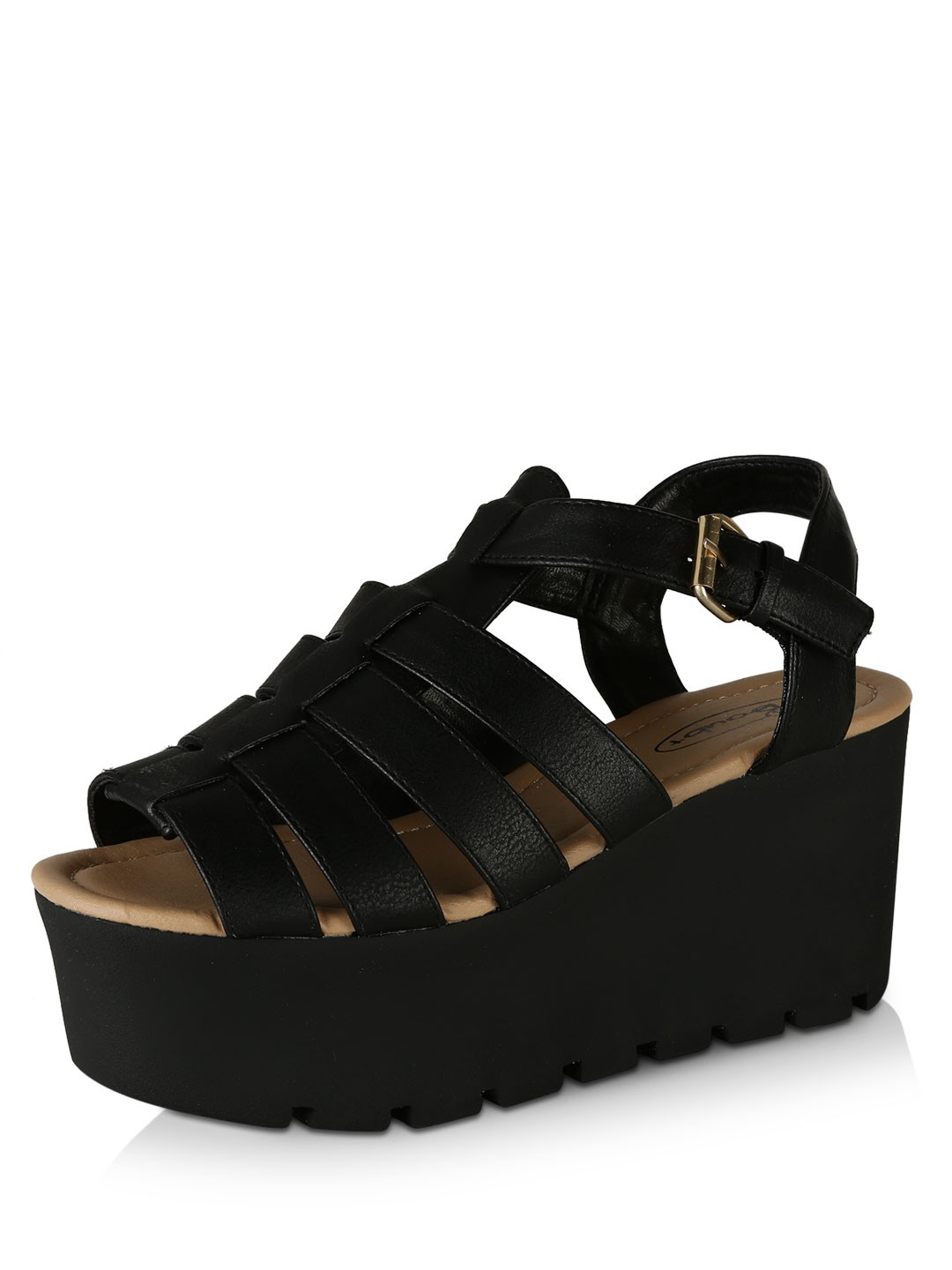 Buy No Doubt Cleated Sole Cage Flatform Sandals For Women