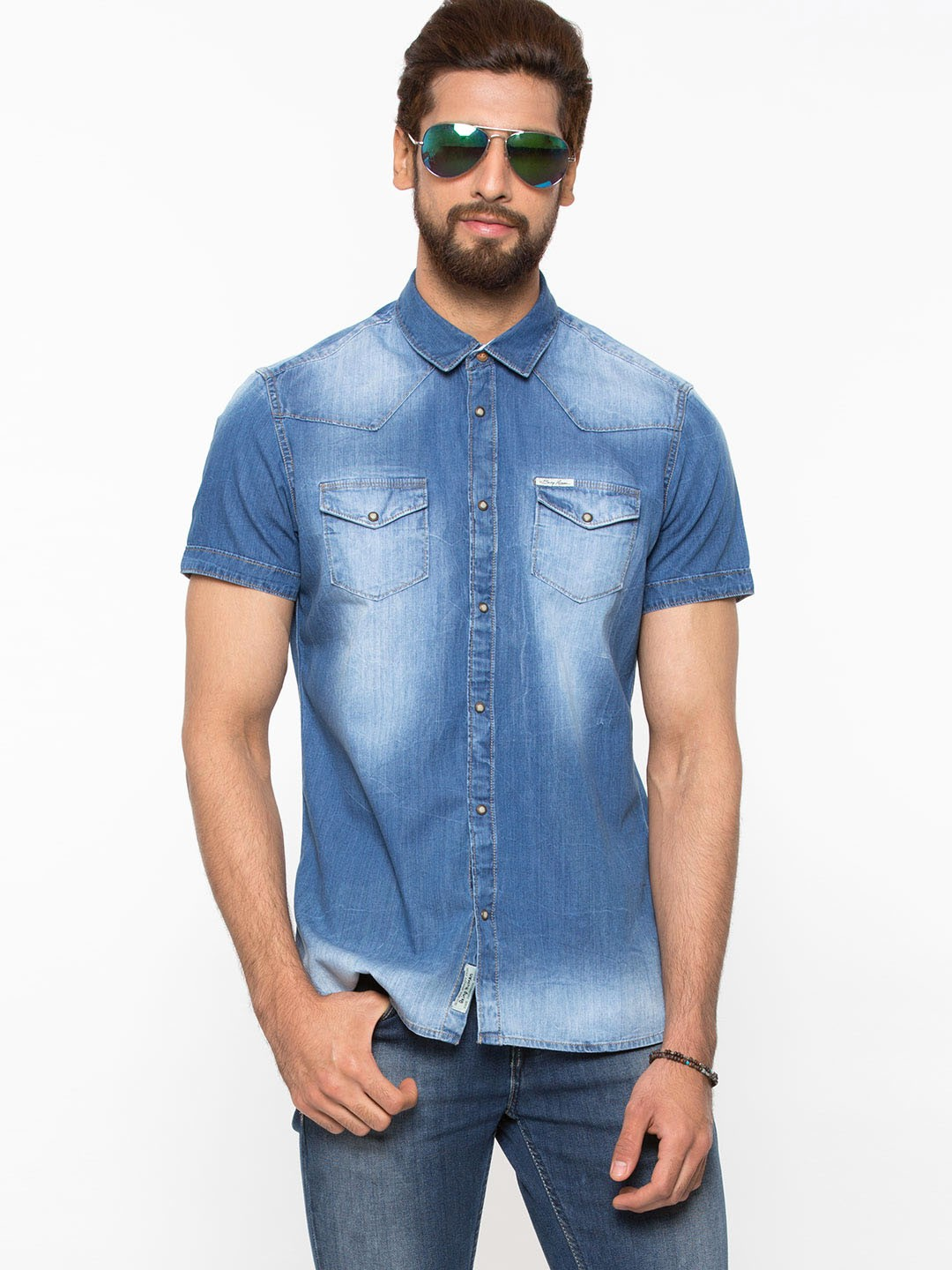 Buy BEING HUMAN Half Sleeve Faded Denim Shirt For Men - Menu0026#39;s Blue Casual Shirts Online in India