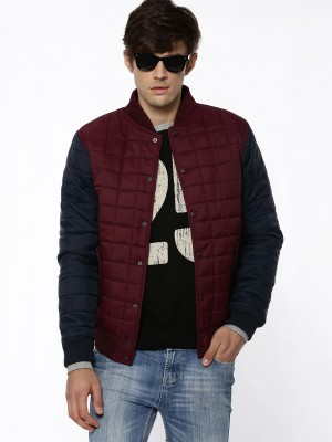 Buy KOOVS Mens Box-Quilted Baseball Jacket For Men - Men's ...