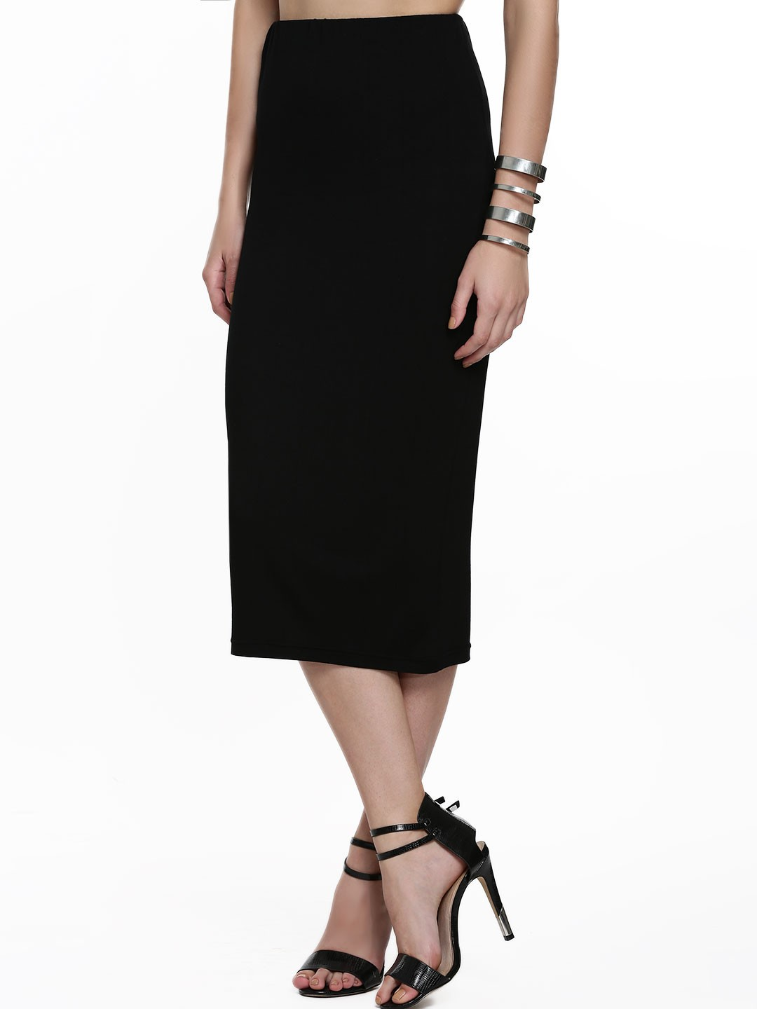 Buy KOOVS Midi Pencil Skirt For Women - Women's Black Pencil ...