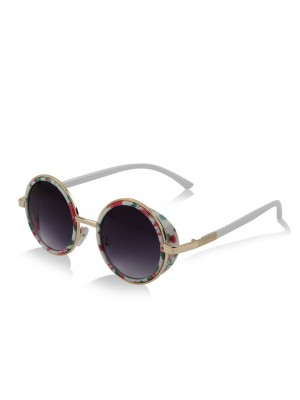 sunglasses online for women  Buy KOOVS Floral Gold Rim Round Sunglasses For Women - Women\u0027s ...