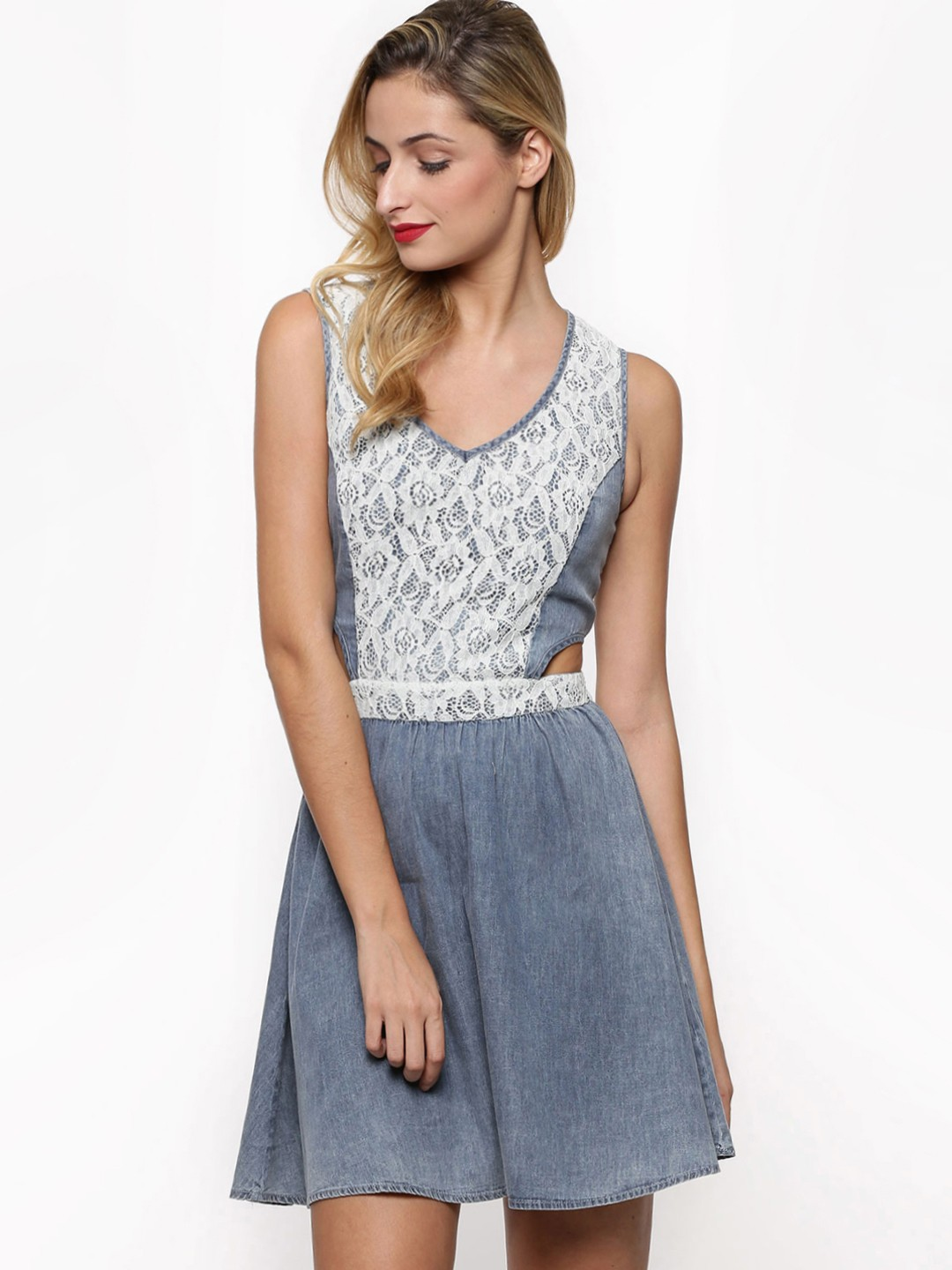 Buy NEON ROSE Lace Overlay Cut-Out Side Denim Skater Dress For ...