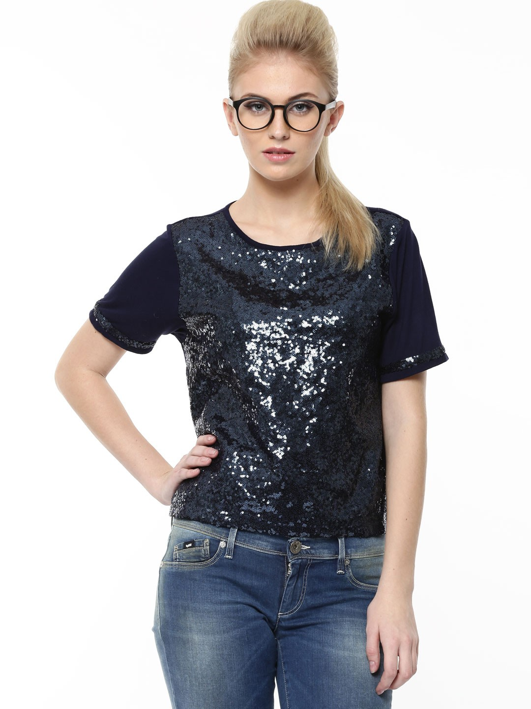Buy KOOVS Sequin Front Boxy Top In The Style Of Deepika