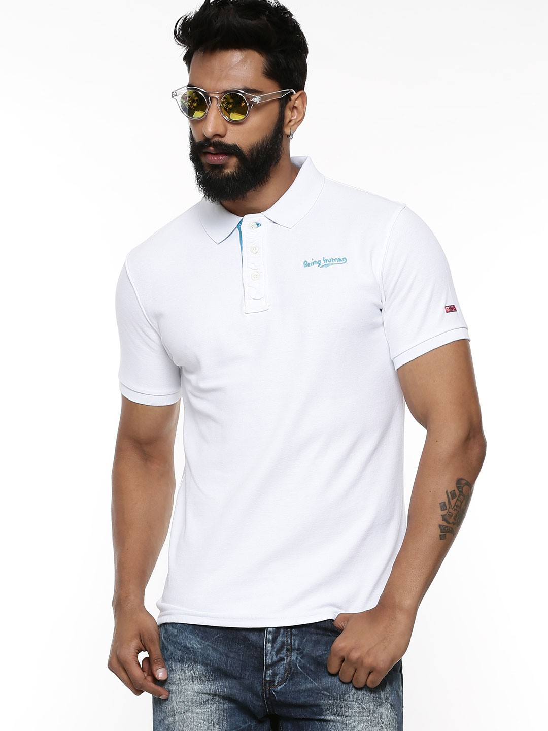 Buy being human basic polo shirt for men men 39 s white for Being human t shirts buy online india