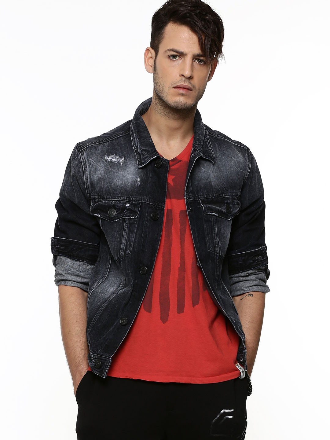 buy jack jones wash and ripped denim jacket for men. Black Bedroom Furniture Sets. Home Design Ideas