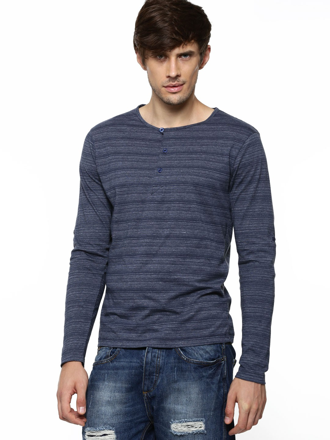 Buy Voi Jeans Henley Neck Full Sleeve Tee For Men Men 39 S