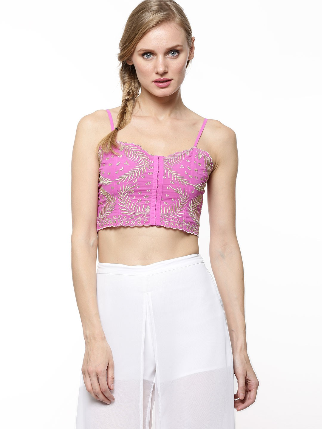 Get ready for party season with this cute embroidered bralet. Featuring chevron embellishment detail at the front, we'd pair it with velvet for seasonal chic. % Polyester. Machine wash.