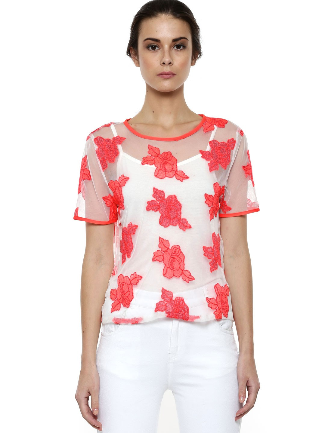 Buy warehouse rose embroidered mesh tee for women
