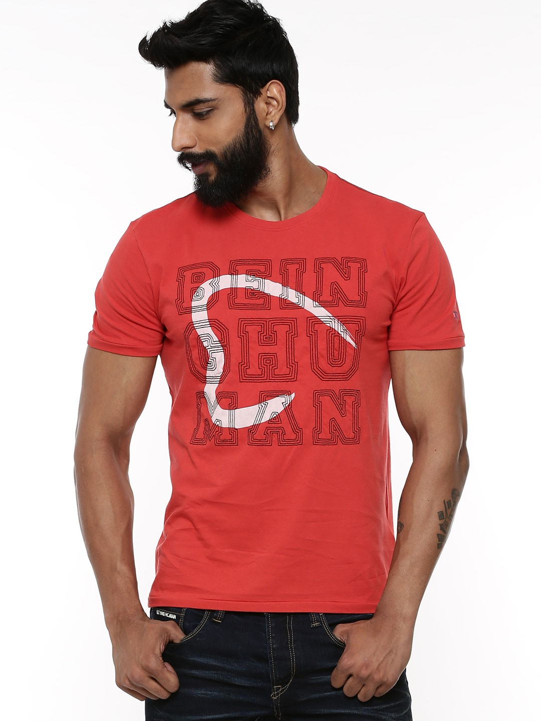 Buy being human logo print tee for men men 39 s red t for Being human t shirts buy online india