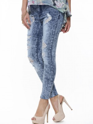 Buy GLAMOROUS Skinny Ripped Stonewash Jeans For Women - Women's ...